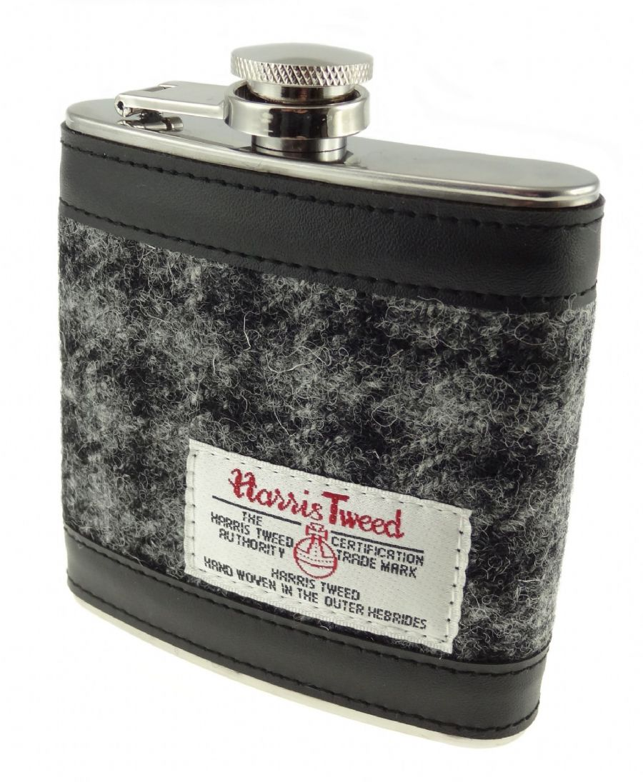 Harris Tweed Hip Flask - Black Check